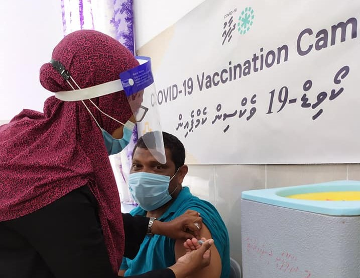 Covid-19 vaccination held by Naalaafushi Health Center. Photo: Social Media.